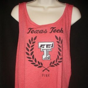 VS Pink L T-SHIRT Tank Top Tee TEXAS TECH Red Gym